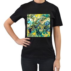 Flower Power Fractal Batik Teal Yellow Blue Salmon Women s T Shirt (black) by EDDArt