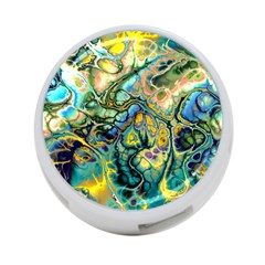 Flower Power Fractal Batik Teal Yellow Blue Salmon 4 Port Usb Hub (two Sides)  by EDDArt