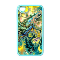 Flower Power Fractal Batik Teal Yellow Blue Salmon Apple Iphone 4 Case (color) by EDDArt