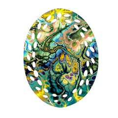 Flower Power Fractal Batik Teal Yellow Blue Salmon Oval Filigree Ornament (two Sides) by EDDArt