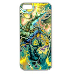 Flower Power Fractal Batik Teal Yellow Blue Salmon Apple Seamless Iphone 5 Case (clear) by EDDArt