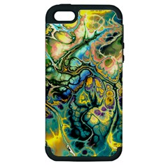 Flower Power Fractal Batik Teal Yellow Blue Salmon Apple Iphone 5 Hardshell Case (pc+silicone) by EDDArt