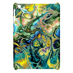 Flower Power Fractal Batik Teal Yellow Blue Salmon Apple Ipad Mini Hardshell Case by EDDArt