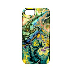 Flower Power Fractal Batik Teal Yellow Blue Salmon Apple Iphone 5 Classic Hardshell Case (pc+silicone) by EDDArt
