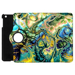 Flower Power Fractal Batik Teal Yellow Blue Salmon Apple Ipad Mini Flip 360 Case by EDDArt