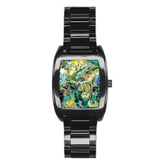 Flower Power Fractal Batik Teal Yellow Blue Salmon Stainless Steel Barrel Watch by EDDArt