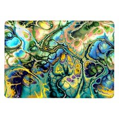 Flower Power Fractal Batik Teal Yellow Blue Salmon Samsung Galaxy Tab 10 1  P7500 Flip Case by EDDArt