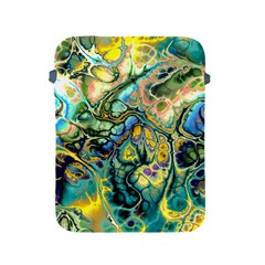 Flower Power Fractal Batik Teal Yellow Blue Salmon Apple Ipad 2/3/4 Protective Soft Cases by EDDArt