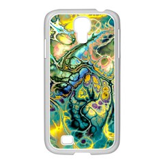 Flower Power Fractal Batik Teal Yellow Blue Salmon Samsung Galaxy S4 I9500/ I9505 Case (white) by EDDArt