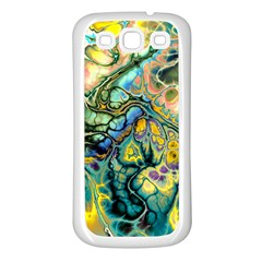 Flower Power Fractal Batik Teal Yellow Blue Salmon Samsung Galaxy S3 Back Case (white) by EDDArt