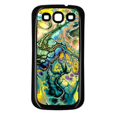 Flower Power Fractal Batik Teal Yellow Blue Salmon Samsung Galaxy S3 Back Case (black) by EDDArt