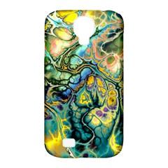 Flower Power Fractal Batik Teal Yellow Blue Salmon Samsung Galaxy S4 Classic Hardshell Case (pc+silicone) by EDDArt