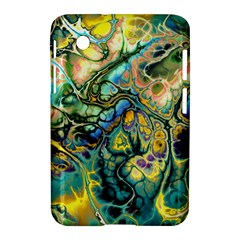Flower Power Fractal Batik Teal Yellow Blue Salmon Samsung Galaxy Tab 2 (7 ) P3100 Hardshell Case  by EDDArt