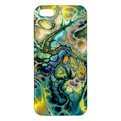 Flower Power Fractal Batik Teal Yellow Blue Salmon Iphone 5s/ Se Premium Hardshell Case by EDDArt