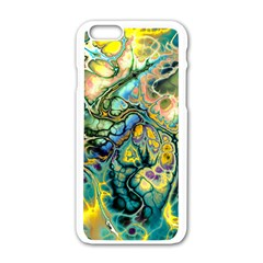 Flower Power Fractal Batik Teal Yellow Blue Salmon Apple Iphone 6/6s White Enamel Case by EDDArt