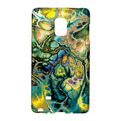 Flower Power Fractal Batik Teal Yellow Blue Salmon Galaxy Note Edge by EDDArt