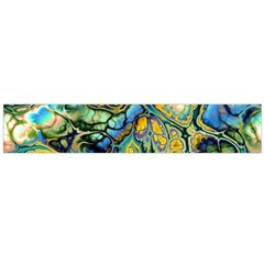 Flower Power Fractal Batik Teal Yellow Blue Salmon Flano Scarf (large) by EDDArt