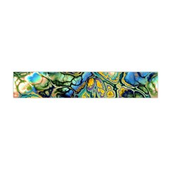 Flower Power Fractal Batik Teal Yellow Blue Salmon Flano Scarf (mini) by EDDArt