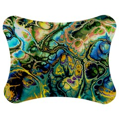 Flower Power Fractal Batik Teal Yellow Blue Salmon Jigsaw Puzzle Photo Stand (bow) by EDDArt