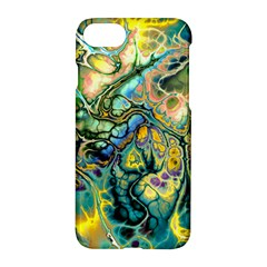 Flower Power Fractal Batik Teal Yellow Blue Salmon Apple Iphone 7 Hardshell Case by EDDArt