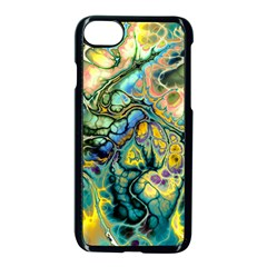 Flower Power Fractal Batik Teal Yellow Blue Salmon Apple Iphone 7 Seamless Case (black) by EDDArt