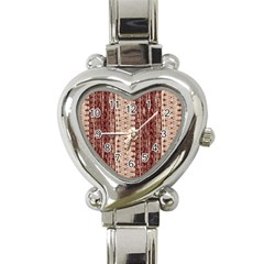 Wrinkly Batik Pattern Brown Beige Heart Italian Charm Watch
