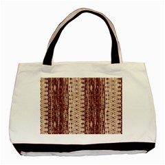 Wrinkly Batik Pattern Brown Beige Basic Tote Bag by EDDArt