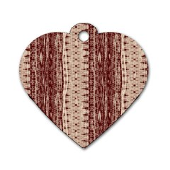Wrinkly Batik Pattern Brown Beige Dog Tag Heart (two Sides) by EDDArt