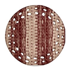 Wrinkly Batik Pattern Brown Beige Round Filigree Ornament (two Sides) by EDDArt