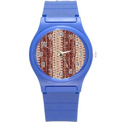 Wrinkly Batik Pattern Brown Beige Round Plastic Sport Watch (s) by EDDArt