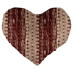 Wrinkly Batik Pattern Brown Beige Large 19  Premium Flano Heart Shape Cushions by EDDArt
