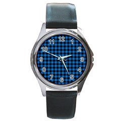 Lumberjack Fabric Pattern Blue Black Round Metal Watch by EDDArt