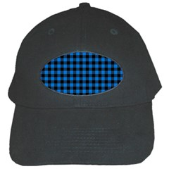 Lumberjack Fabric Pattern Blue Black Black Cap by EDDArt