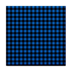 Lumberjack Fabric Pattern Blue Black Tile Coasters by EDDArt