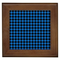 Lumberjack Fabric Pattern Blue Black Framed Tiles by EDDArt