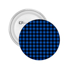 Lumberjack Fabric Pattern Blue Black 2 25  Buttons by EDDArt