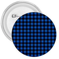 Lumberjack Fabric Pattern Blue Black 3  Buttons by EDDArt