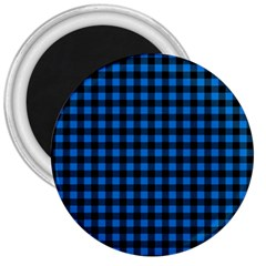 Lumberjack Fabric Pattern Blue Black 3  Magnets by EDDArt