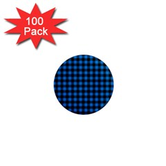 Lumberjack Fabric Pattern Blue Black 1  Mini Magnets (100 Pack)  by EDDArt