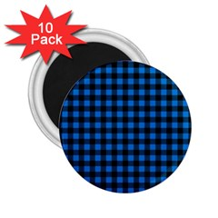 Lumberjack Fabric Pattern Blue Black 2 25  Magnets (10 Pack)  by EDDArt
