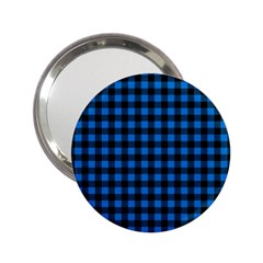 Lumberjack Fabric Pattern Blue Black 2 25  Handbag Mirrors by EDDArt