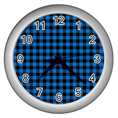 Lumberjack Fabric Pattern Blue Black Wall Clocks (silver)  by EDDArt