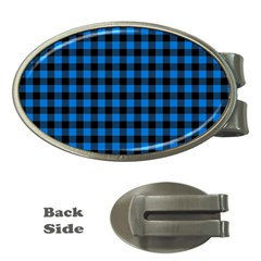 Lumberjack Fabric Pattern Blue Black Money Clips (oval)  by EDDArt