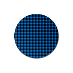 Lumberjack Fabric Pattern Blue Black Magnet 3  (round) by EDDArt