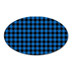 Lumberjack Fabric Pattern Blue Black Oval Magnet by EDDArt