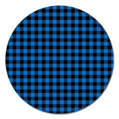 Lumberjack Fabric Pattern Blue Black Magnet 5  (round) by EDDArt