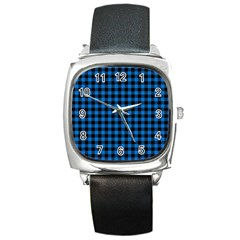 Lumberjack Fabric Pattern Blue Black Square Metal Watch by EDDArt