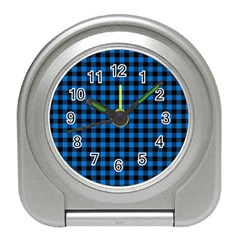 Lumberjack Fabric Pattern Blue Black Travel Alarm Clocks by EDDArt