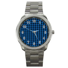 Lumberjack Fabric Pattern Blue Black Sport Metal Watch by EDDArt