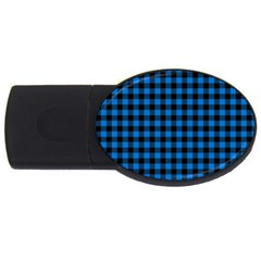 Lumberjack Fabric Pattern Blue Black Usb Flash Drive Oval (4 Gb) by EDDArt
